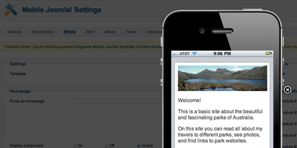 Mobile Joomla iPhone emulator