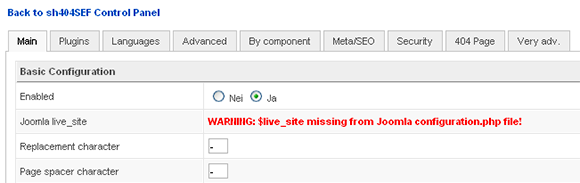 sh404sef Joomla configuration - live site URL missing